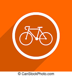 bicycle icon Orange flat button Web and mobile app design...