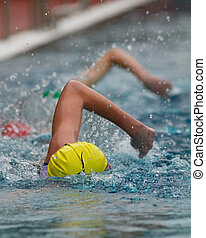 swimmer in a triathlon contest