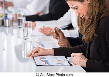 donna d'affari, Analizzare, grafico