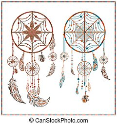 Dream catcher ethnic ornament spider web, beads, circler,...