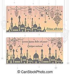 Set ethnic greeting cards, invitations, with the silhouette of mosques and text congratulations lights, stars, moon