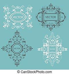 Set monogram design elements Baroque style - Set of isolated...