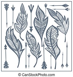 Set tribal feathers, arrow zentangle - Stylized isolated...