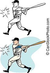Hitting a Home Run - A baseball player swings and hits a...