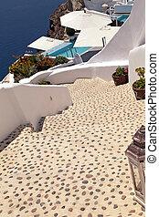 Beautiful stairs on Santorini island, Greece - Beautiful sea...