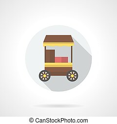 Mobile cafe flat color round vector icon - Brown trolley for...