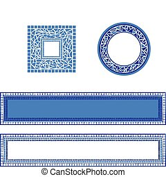 Mosaic Frames - Illustration of mosaic frames on white...