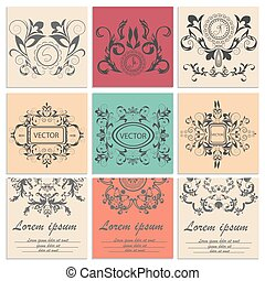 Set greeting cards, flower baroque ornament