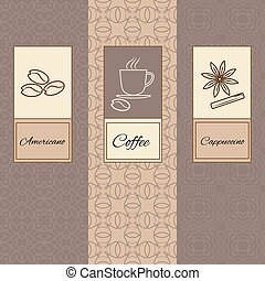 Set linear,ornament package, brochures coffee - Set of...