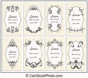 Set floral ornament frame