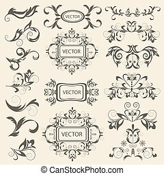 Set monograms, floral ornaments in baroque style. Isolated...