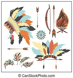 Set ethnic style arrows, feathers,bow, war bonnet, fire -...