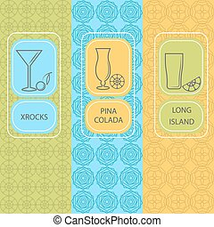 Set linear cocktail card, brochures - Set of design elements...