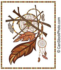Elements ethnic style Dreamcatcher, twigs, feathers