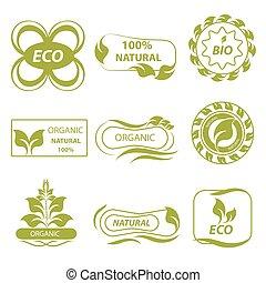 Organic, eco logo, elements flora - Isolated eco logo,...