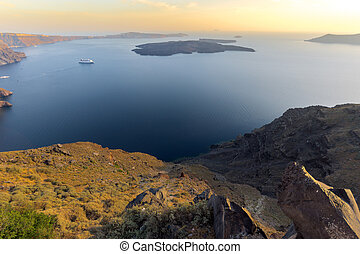 sunset panorama to Santorini - Amazing sunset panorama to...