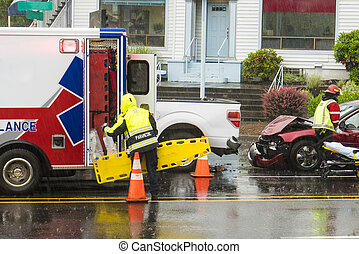 EMT technicians responding to traffic accident - EMT...