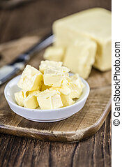Butter selective focus - Piece of Butter selective focus,...