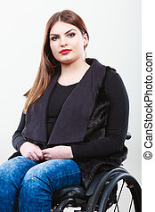 Disabled young girl on wheelchair - Disability and handicap...