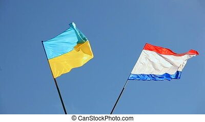 Flags Of Crimea And Ukraine Swaying On Wind - CLOSE UP Two...