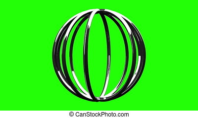 Silver Circle Abstract On Green Chroma Key. Loop able 3DCG...