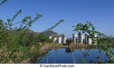 Buildings Of Sewage Plant Near Lake - Treatment facilities...
