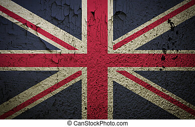 Great britain flag on old grunge wall background retro...