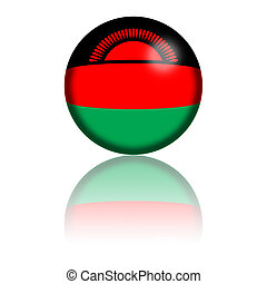 Malawi Flag Sphere - Sphere of Malawi flag with reflection...