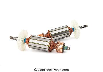 eléctrico, motor, rotor, aislado,