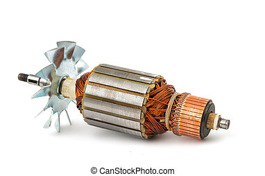 Electric motor rotor isolated white background