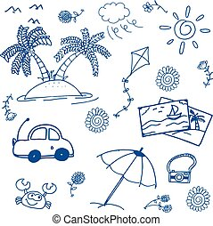 Happy holiday summer doodle