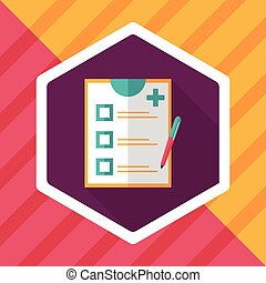 clinical record flat icon with long shadow,eps10