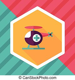 Medical helicopter flat icon with long shadow,eps10