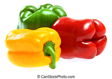 red, yellow and green paprika