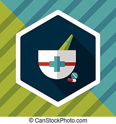 mortar and pestle flat icon with long shadows,eps10