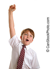 Hand\'s up who knows the answer. - Schoolboy with his hand...