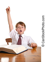 I\'ve finished - Tired schoolboy with his hand up, isolated...
