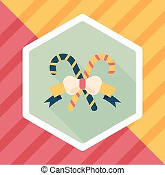 Christmas candy cane flat icon with long...