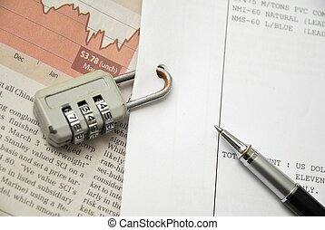 Closeup of number lock on documents - Closeup of number lock...