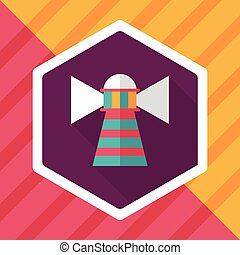 Lighthouse flat icon with long shadow,eps10