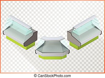 Refrigerated counter vector 3d illustration. Shop equipment...