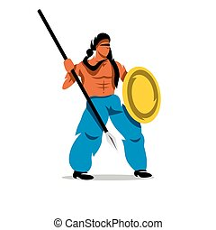 Vector Persian Warrior Cartoon Illustration - Gladiator in a...
