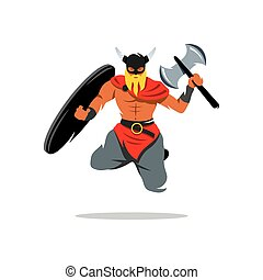 Vector Viking Warrior Cartoon Illustration. - Barbarian...