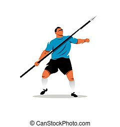 Vector Javelin Thrower Cartoon Illustration.