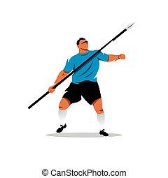 Vector Javelin Thrower Cartoon Illustration. - Athlete...