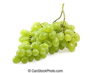 Green grapes on white background close up shoot