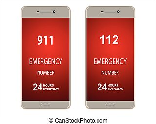 emergency numbers - Smartphone, mobile phone with emergency...