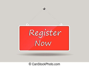 register - Red banners hung register Now vector illustration...