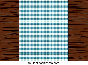 tablecloth - Checkered tablecloth on wooden table, top view,...