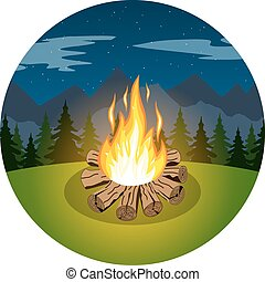 Cartoon bonfire on night landscape